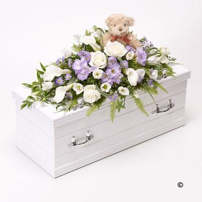 Childrens Casket Spray with Teddy Bear   Blue and Lilac