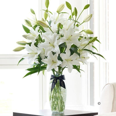 Luxury White Oriental Lily Vase.