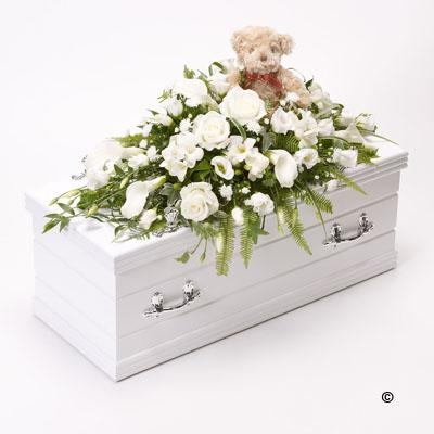 Childrens Casket Spray with Teddy Bear   White