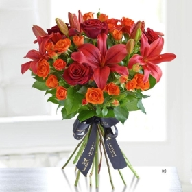 Luxury Red Lily And Rose Hand tied