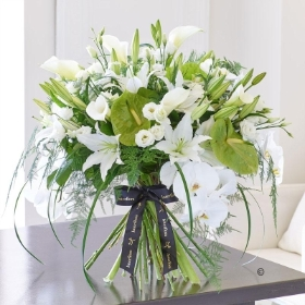 Luxury White Lily and Anthurium  Contemporary Hand tied