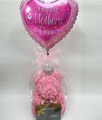 Pink Rose Foam Teddy with Balloon and Chocs