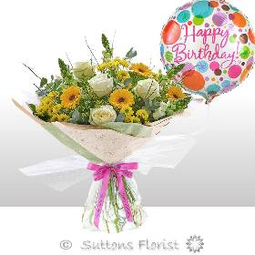 Happy Birthday Golden Charm Hand tied with Happy Birthday Balloon