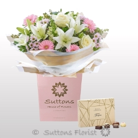 *Pretty Pastels Handtied with Chocolates