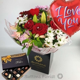 True Love Hand Tied with Balloon and Chocs