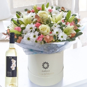 Winter Frost Hatbox with White Wine